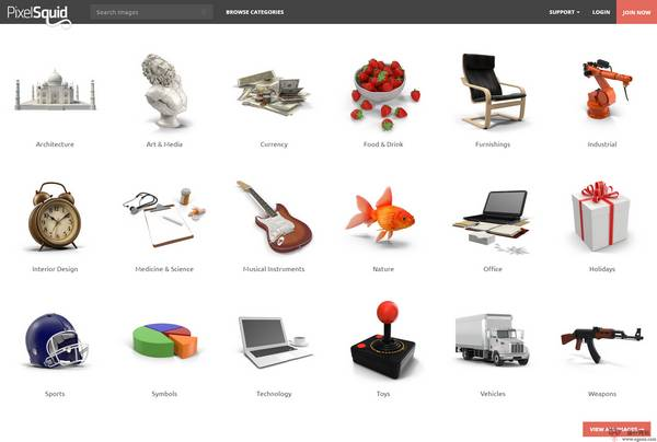 【素材网站】去背景3D素材图片库【PixelSquid】