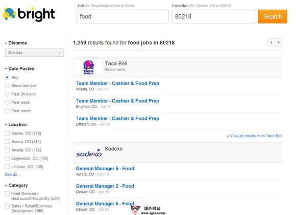 【经典网站】Bright:美国职位就业搜索引擎