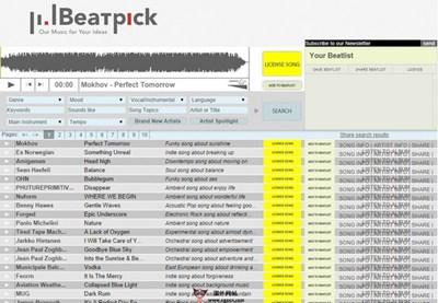 【经典网站】BeatPick:在线音乐搜索与下载网