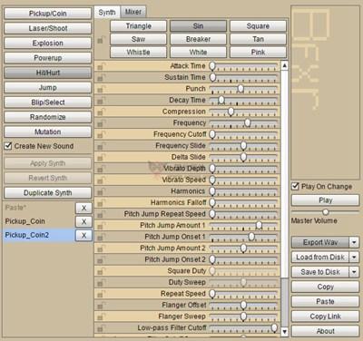 【经典网站】BFXR:在线游戏音效编辑器