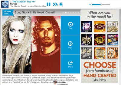 【经典网站】Slacker radio:在线音乐广播电台