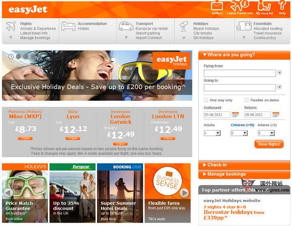 【经典网站】EasyJet:英国易捷航空公司