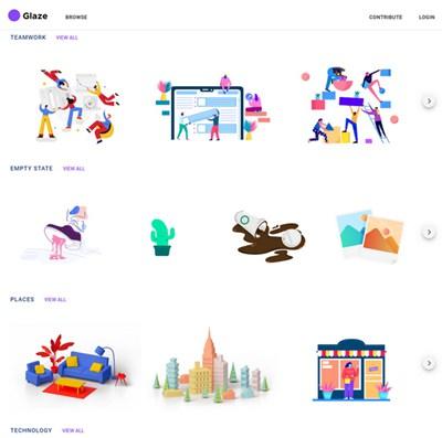 【素材网站】免费设计师插画素材库 – Glaze