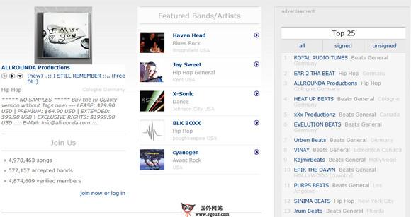 【经典网站】SoundClick:在线免费音乐社区