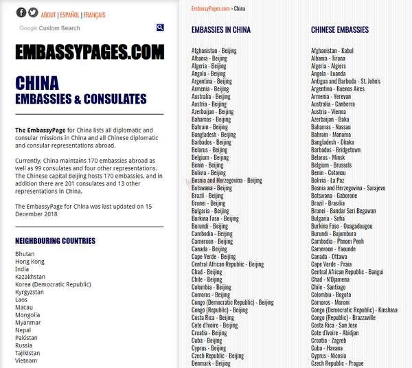 【经典网站】EmbassyPages|世界最全外交机构大全