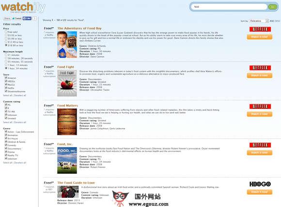 【经典网站】Watchily:在线流媒体精准搜索引擎