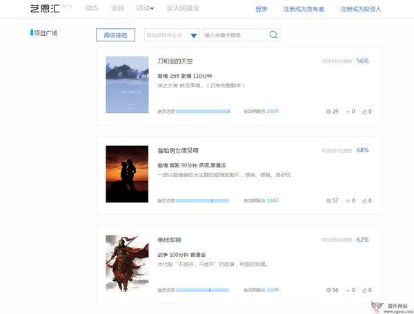 【经典网站】艺恩汇电影创投平台【9Dooo】