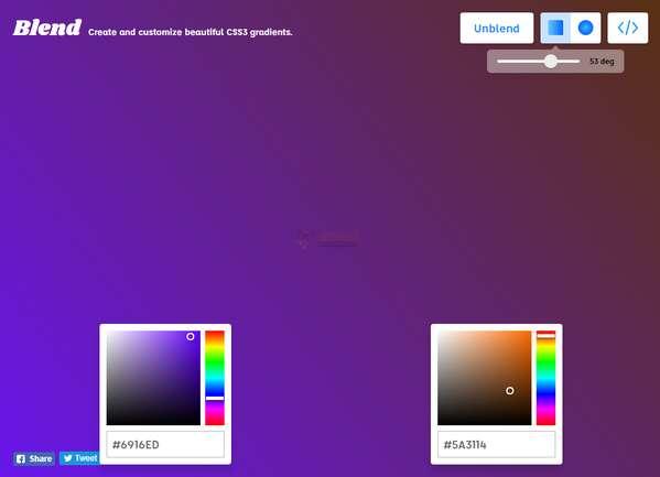 【工具类】Blend|在线创建CSS颜色渐变工具