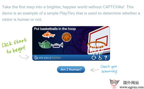 【经典网站】AreYouaHuman:PlayThru迷你游戏验证码平台