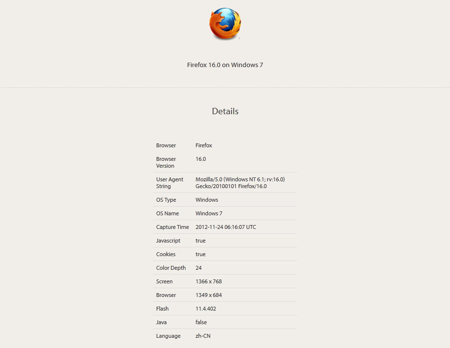 【数据测试】aboutmybrowser:游览器测试网站