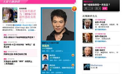 【经典网站】Mediamass:国际明星八卦新闻网
