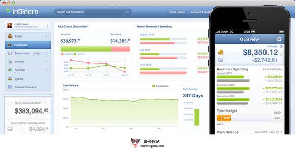 【经典网站】Indinero:企业账务一站式管理服务平台