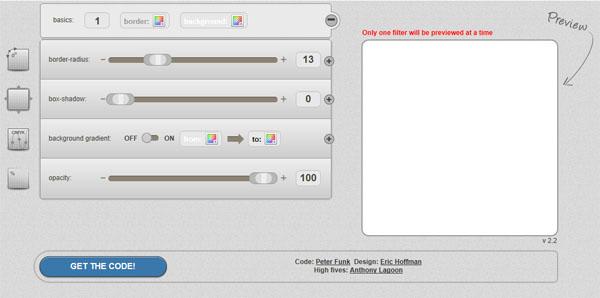 【数据测试】CSS3 Generator,在线生成CSS3圆角代码 可视化界面