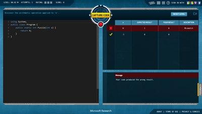 【数据测试】Code Hunt – 微软推出的在线编程游戏