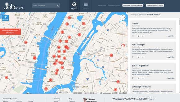 【经典网站】JobKaster:基于地理位置的招聘求职网
