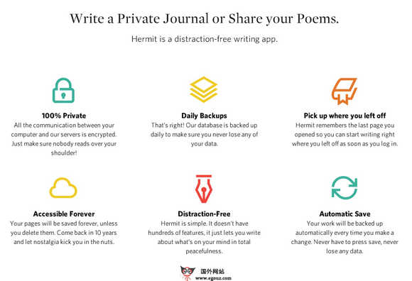 【工具类】GetHermit:在线免费私人日记本