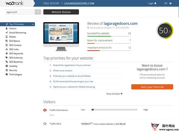 【工具类】Woorank:网站SEO检测免费应用平台