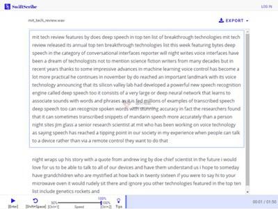 【经典网站】SwiftScribe|百度AI音频转录应用