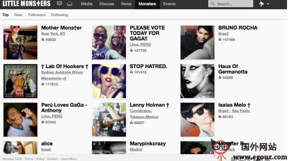 【经典网站】LittleMonsters:Lady Gaga个人社交网
