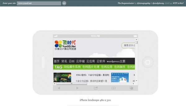 【数据测试】Responsinator:在线测试网页在主流移动设备显示效果