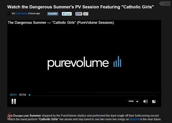 【经典网站】PureVolume:流行音乐人作品展示平台