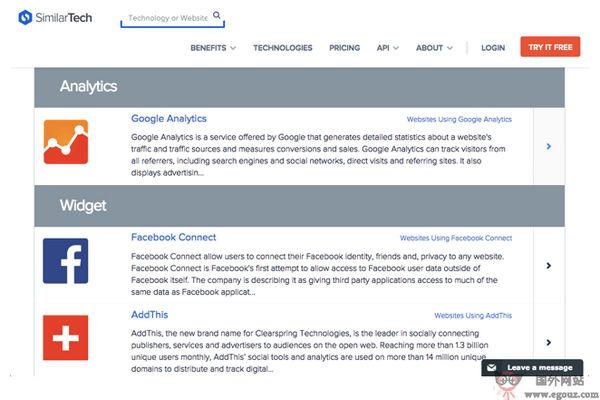 【工具类】SimilarTech:网站第三方服务检测