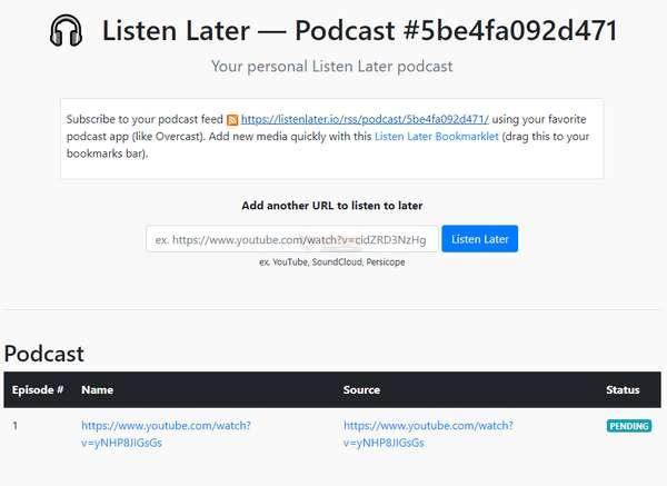 【工具类】Listenlater|视频转换为音频播客工具