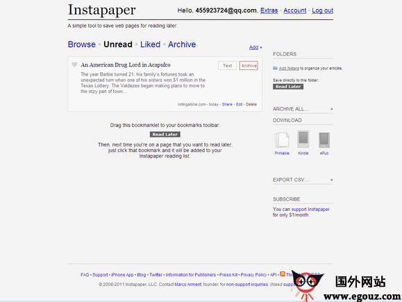 【工具类】InstaPaper:在线内容阅读工具