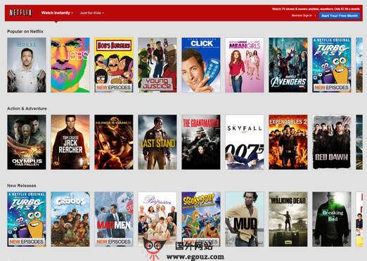 【经典网站】Netflix:在线收费电影订阅平台