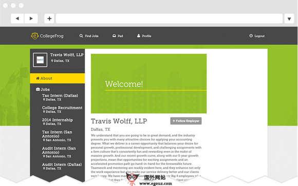 【经典网站】CollegeFrog:在线高校会计招聘服务网