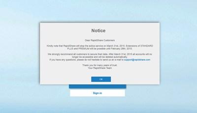 【数据测试】文件分享网站RapidShare即将歇业:老用户请赶紧备份数据