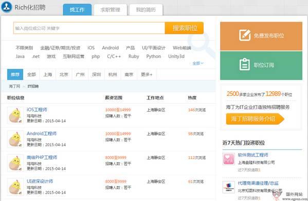 【经典网站】海丁网IT人才求职社区【HeaDin】