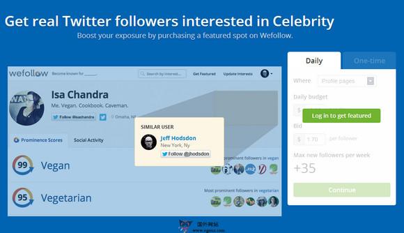 【经典网站】WeFollow:Twitter用户目录搜索网