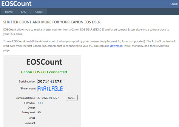 【数据测试】在线检测佳能单反快门次数:Eoscount