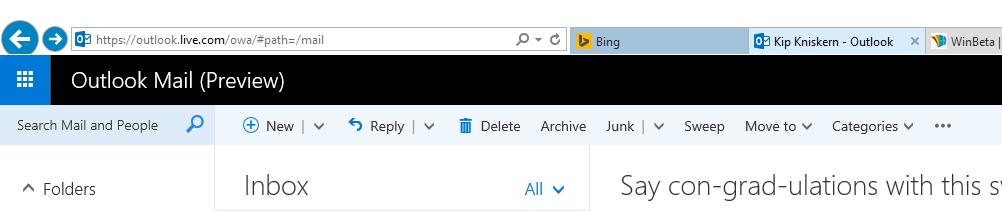 【数据测试】在线版Outlook网站全新改版功能界面一览