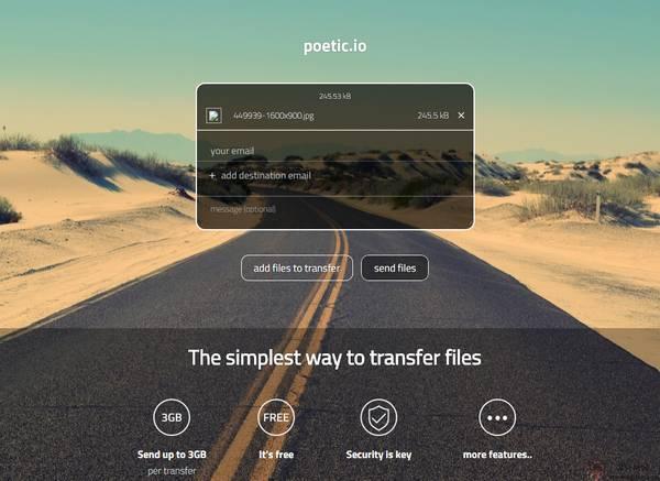 【经典网站】Poetic.io:免费无限制大文件分享网盘