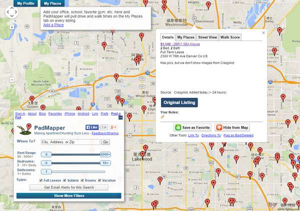 【经典网站】PadMapper:基于地图和租房信息搜索网