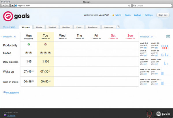 【工具类】42Goals:在线每日目标管理平台