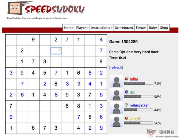 【经典网站】SpeedSudoku:在线数独游戏网