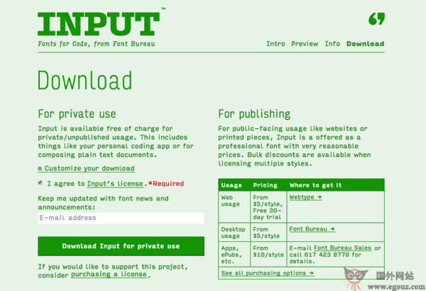 【素材网站】inPutFonts:免费编程字体库