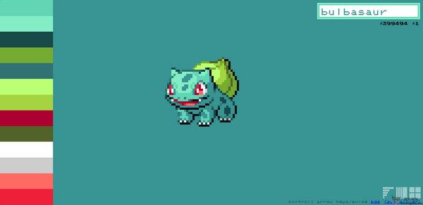 【素材网站】PokemonPalettes:在线神奇宝贝配色网