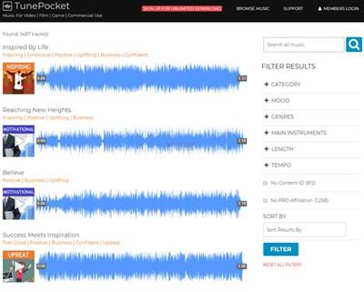 【素材网站】TunePocket 免版税商用背景音乐库