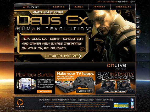 【经典网站】Onlive:云计算游戏点播平台