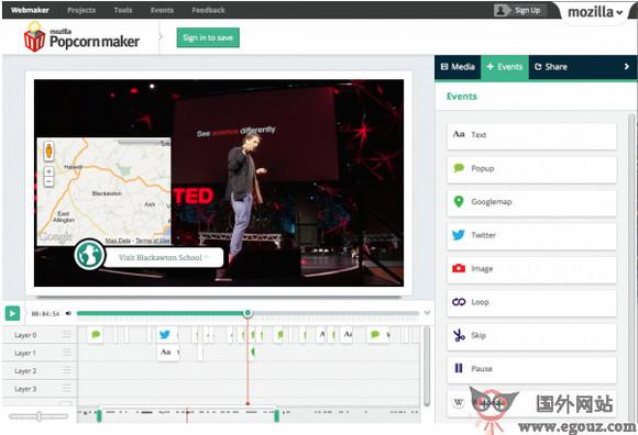 【工具类】Popcorn Maker:交互视频在线编辑工具