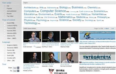 【经典网站】VideoLectures:免费教育视频讲座资源网