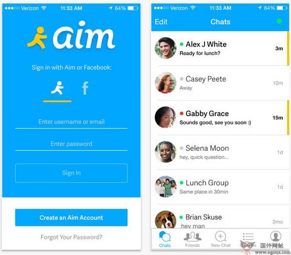 【工具类】AIM:即时通讯社交平台