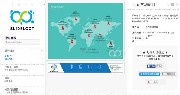 【素材网站】SlideLoot:免费简报图表范本网