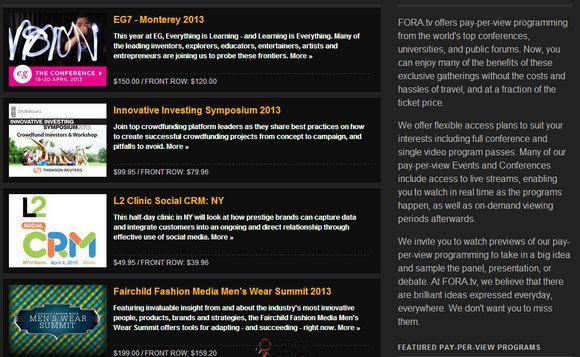 【经典网站】Fora.TV:互联网精英视频网