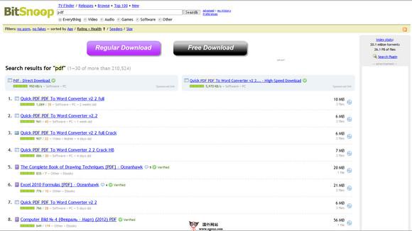 【经典网站】BitSnoop:P2P实时有效种子搜索引擎