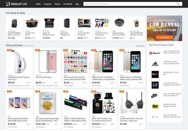 【经典网站】DealsPure|国外购物优惠券折扣网